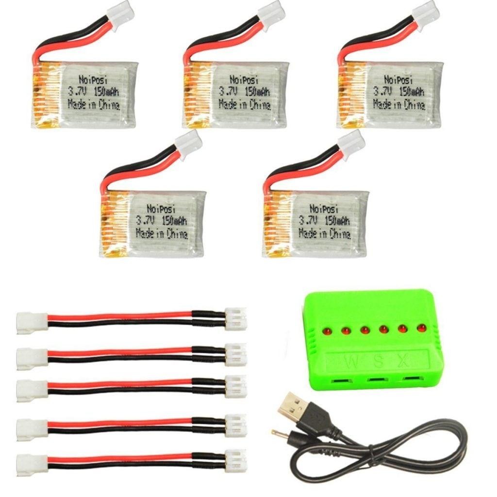 Noiposi 五個セット 3.7v 150mah 30c リポ バッテリー