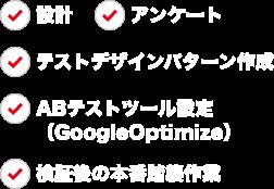 設計、アンケート調査、テストデザインパターン制作、ABテストツール設定(GoogleOptimize)、検証後の本番踏襲作業