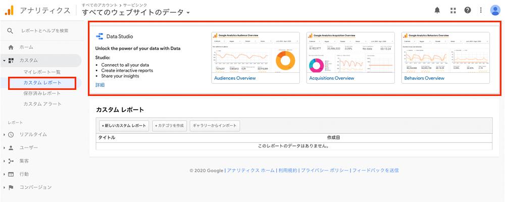 Googleアナリティクスのカスタムレポート画面から簡単にGoogleデータポータルレポート連携ができます