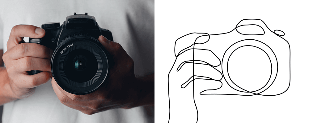 写真撮影された一眼レフカメラとイラストの一眼レフカメラのイメージ