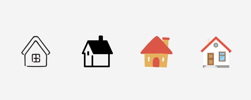 異なるデザイントーンの家イラスト
